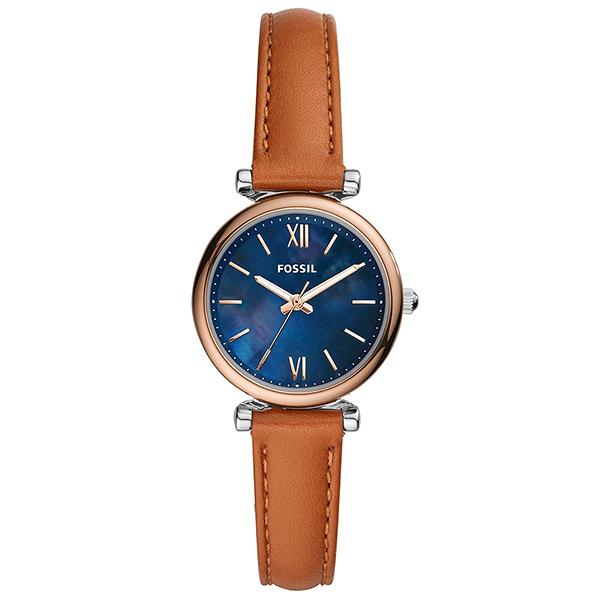 【台南 時代鐘錶 FOSSIL】ES4701 沉穩氣質 羅馬刻度 簡約三針腕錶 皮帶 玫瑰金/藍 28mm