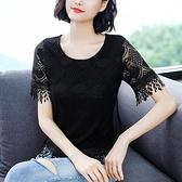 女夏季短袖新款大碼女裝遮肚子蕾絲打底衫洋氣流蘇小衫潮 【Ifashion·全店免運】