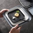 北歐風 陶瓷方形西餐盤 啞光餐盤 陶瓷烤...