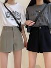 2021新款韓版寬鬆顯瘦百搭小個子高腰西裝闊腿短褲女黑色休閒褲子 果果輕時尚