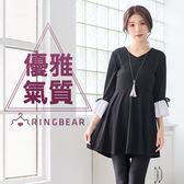 黑色洋裝--優雅氣息V領氣質蝴蝶結剪接細褶荷葉七分袖連身裙(黑L-2L)-U494眼圈熊中大尺碼