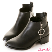 amai金屬圓環拉鏈裝飾短靴 黑