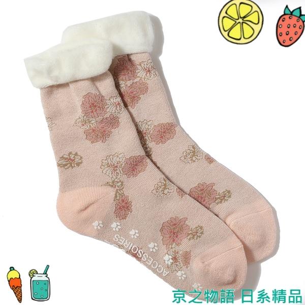 【京之物語】日本製PAUL&JOE美麗花朵腳底防滑女性保暖短襪23-25cm 現貨