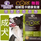 【zoo寵物商城】Wellness寵物健康》CORE無穀成犬低卡健康食譜-4lb/1.81kg
