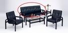HY-600-7    溫莎沙發組-黑皮-三人沙發-單張