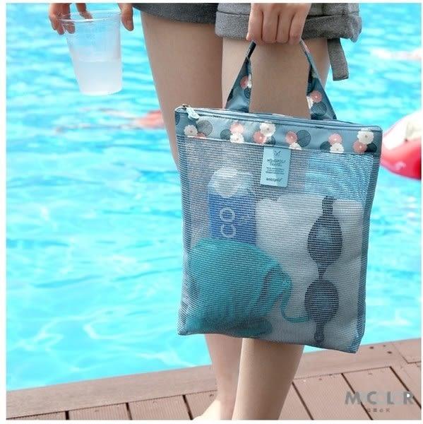 ♚MY COLOR♚圖案加邊網格包 沙灘 旅行 游泳 健身 瑜珈 透明 洗漱 運動 購物 網眼 手提袋 (小)【J16】