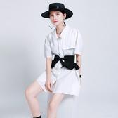 短袖連身裙-純色荷葉邊收腰長款女襯衫2色73yh7【巴黎精品】