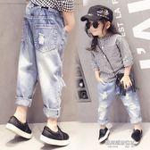 女童牛仔褲秋裝新款韓版寶寶兒童破洞休閒軟牛仔長褲百搭褲子  凱斯盾數位3c