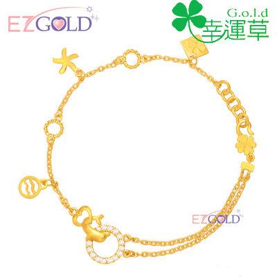 幸運草金飾-閃耀幸福-黃金手鍊