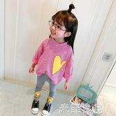 女寶寶裝小童條紋T恤兒童長袖上衣女童t恤打底衫 米菲良品