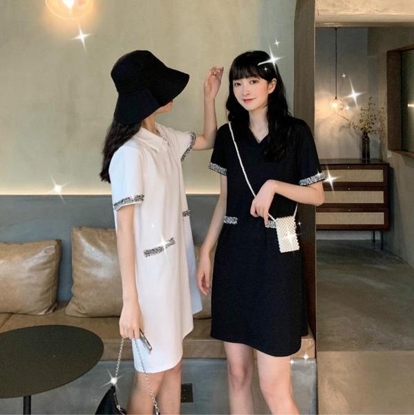 POLO領洋裝 法式心機小黑裙女2020春夏新款小香風收腰修身POLO短袖赫本洋裝 果果生活館