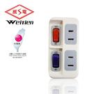台灣製 威電牌。安全電源線組WT-0822 二燈二壁插
