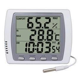 泰菱電子◆室內外二用大型顯示溫濕度計溫度計+時鐘鬧鈴DTM-303H TECPEL