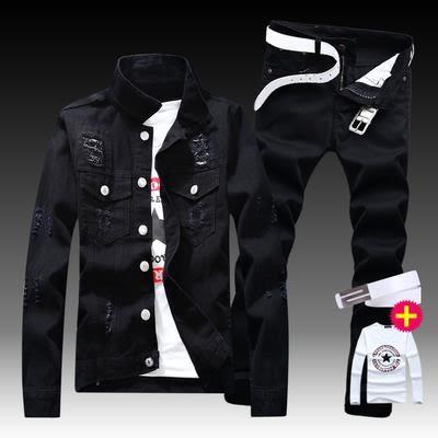 牛仔外套 男士潮流修身夾克長褲破洞牛仔套裝休閒薄款外套衣服【韓國時尚週】