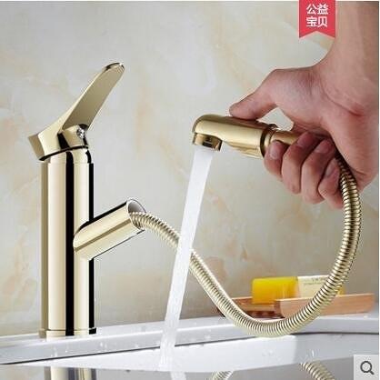 金色標準款歐式全銅主體抽拉式冷熱面盆水龍頭洗手臉盆伸縮龍頭