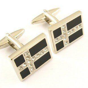 黑底銀框鑲鑽十字架男士袖扣 IFSONG 555