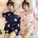 冰絲睡衣女夏季可外穿家居服短袖套裝薄款韓版女學生可愛卡通絲綢 美眉新品