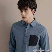 【GIORDANO】男裝拉鍊單口袋磨毛長袖襯衫-01 中校海軍藍