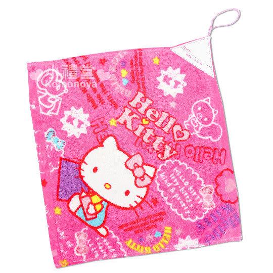 〔小禮堂〕Hello Kitty 擦手巾《桃粉.側坐.拿筆.寫生》4716171-25218