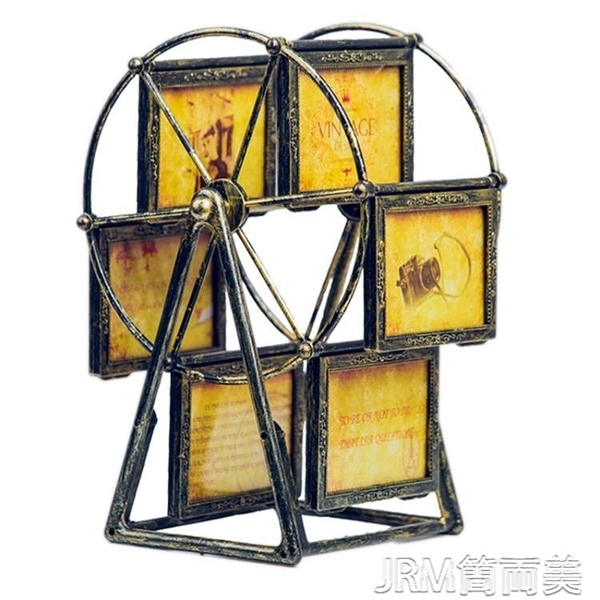 歐式復古旋轉摩天輪相框擺台5寸兒童寶寶大風車相冊擺台創意訂製 簡而美