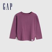 Gap女幼童 碳素軟磨系列 純棉長袖T恤 754599-紫紅色