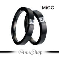 【米格MiGO‧Sight鍾情白鋼情人對戒】【單個】銀飾精品美鑽黑色戒指