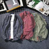 3色 紅色格子襯衫男國潮嘻哈貼布格子翻領襯衣日系復古情侶開衫外套 巴黎時尚