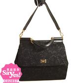 【奢華時尚】Dolce & Gabban 限量款Sicily黑色蕾絲紋真皮托特包(全新未使用)#17797
