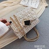 斜背包 超火呢子包包女包新款潮2021流行韓版時尚百搭錬條單肩斜挎包
