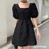 法式洋裝 法式復古小黑裙夏季2020新款裙子小個子氣質方領泡泡袖洋裝女夏