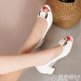 魚口鞋2021夏季新款方扣真皮涼鞋粗跟中跟皮鞋白色鏤空女鞋魚嘴單鞋網紗 嬡孕哺 上新