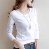 秋冬2019棉質白色長袖t恤女裝打底衫女修身純色體恤韓版新款上衣