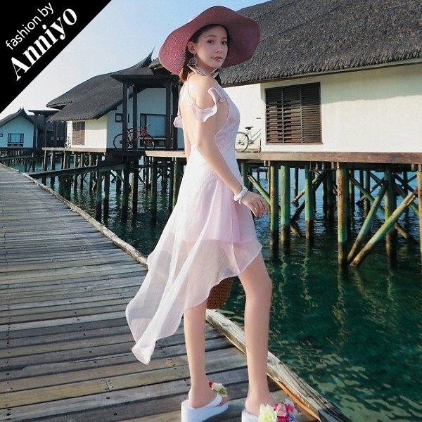 Anniyo安妞‧細肩帶露肩袖露背修身顯瘦不規則裙襬波希米亞海邊度假雪紡沙灘裙洋裝禮服 淡粉色
