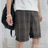 韓版休閒短褲男夏季薄款中褲格子直筒寬松百搭五分褲 概念3C旗艦店