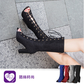 韓系個性OL款亮漆露趾綁帶尖頭方跟長靴/4色/35-43碼 (RX1257-Q62-8S) iRurus 路絲時尚