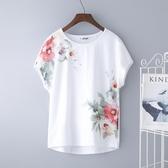 白色短袖t恤女新款民族風中年媽媽夏裝純棉大碼半袖體桖寬鬆 亞斯藍生活館