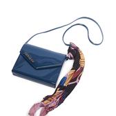 Petite Jolie  絲巾裝飾果凍信封包-蔚藍色