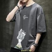 男士韓版短袖T恤潮流寬鬆男裝上衣服潮牌ins港風五分半袖體恤套裝 [快速出貨]