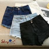 【V0073 13 】shiny 藍格子瑕疵 . 修身高腰毛邊牛仔短褲