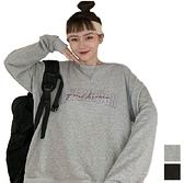EASON SHOP(GW7929)實拍撞色草寫英文字母刺繡落肩寬鬆圓領長袖素色棉T恤裙女上衣服大學T大碼秋裝