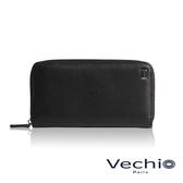 【VECHIO】荔枝壓紋系列8卡拉鍊長夾(經典黑)VE039W05BK