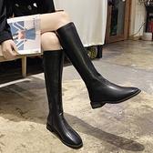 網紅長筒騎士靴女2021秋冬季新款方頭粗跟馬靴過膝靴高筒瘦瘦靴潮3C數位百貨