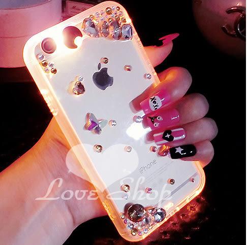 【Love Shop】奧地利發光水鑽發光殼 IPHONE 6 Plus來電閃 IPHONE5/5S 手機殼 冷夜 不掉鑽 多色發光