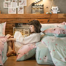 床包兩用被組 / 雙人加大【粉紅戀愛款-爽爽貓的熱戀】含兩件枕套  100%精梳棉  戀家小舖AAL315
