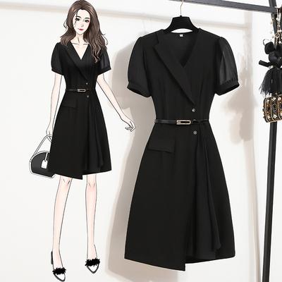 L-5XL胖妹妹大碼洋裝連身裙~胖妹妹優雅時尚西裝領拼接連身裙R030B愛尚布衣