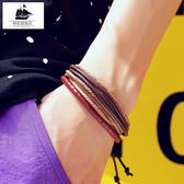 男士皮手鏈女街拍人歐美風手串情侶復古手環手飾品個性禮物