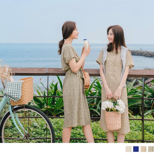 《DA7520-》法式小碎花後鬆緊綁帶長洋裝 OB嚴選