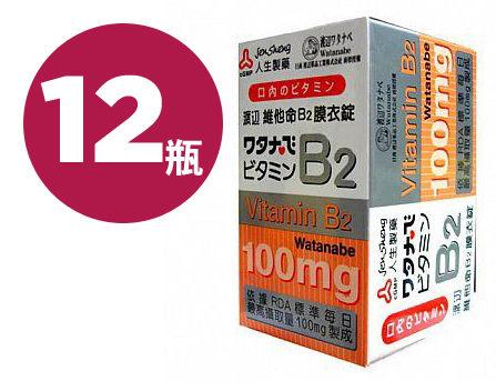 人生製藥 渡邊 維他命B2 膜衣錠 (60錠 / 12瓶) 箱購【杏一】
