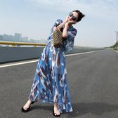 雪紡連身裙長裙女夏裝女裝2018新款imiss裙子氣質慵懶風超仙收腰 東京衣櫃