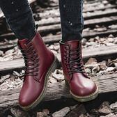 馬丁靴 馬丁靴時尚高筒工裝男靴子加絨刷毛保暖雪地棉鞋中筒防潑水棉靴 酷我衣櫥